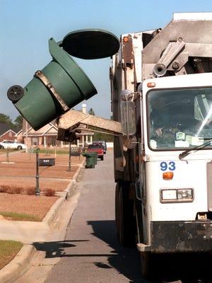 Trash pick-up illustration.