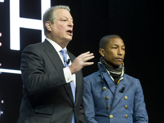 Former vice president Al Gore, left, and Pharrell Williams