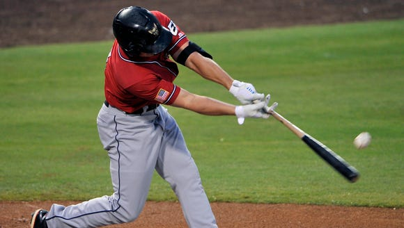 El Paso's Hunter Renfroe connects for a single in the