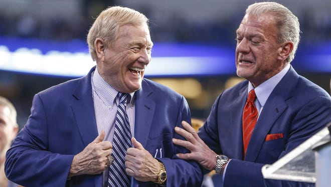 Bill Polian, left, is continuing to advise Jim Irsay in his search for a new general manager.