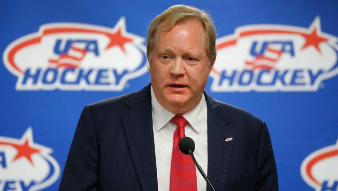Jim Johannson speaking during a news conference in Plymouth, Mich. Johannson, the general manager of the U.S. Olympic men's hockey team, has died just a couple weeks before the start of the Pyeongchang Games, Sunday, Jan. 21, 2018. He was 53.