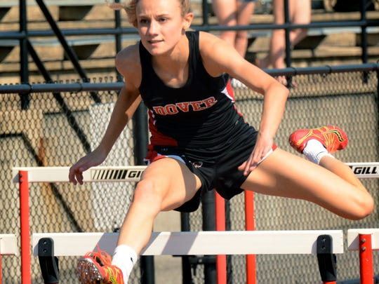 Dover's Peyton Mulder wins the 100 hurdles during a meet with visiting Eastern York Tuesday, May 1, 2018. Bill Kalina photo