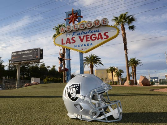 General overall view of Oakland Raiders helmet at the Welcome to Fabulous Las Vegas sign on the Las Vegas Blvd. on the Las Vegas strip.