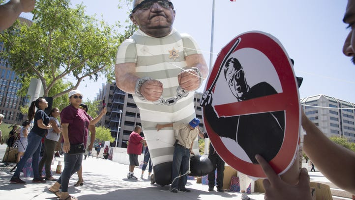 Sheriff Joe Arpaio protesters outside the Sandra Day