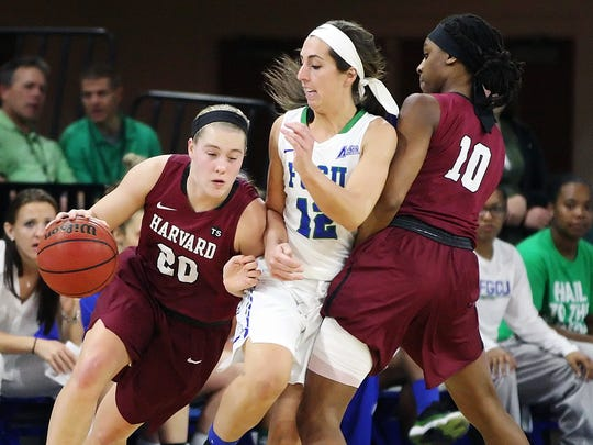 FGCU's Stephanie Haas, center, defends against Harvard