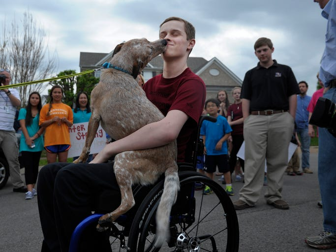Hunter Garstin, the Independence High student who sustained a neck injury that left him partially paralyzed, is welcomed home by his dog Dixie on Friday in Franklin.
