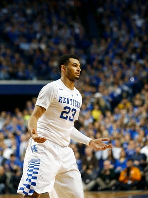 Kentucky's Jamal Murray reacts to the crowd after knocking down another shot. Feb. 18, 2016