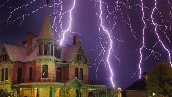 Republic photographer Michael Chow captured this huge lightning flash over the historic Rosson House in downtown Phoenix.