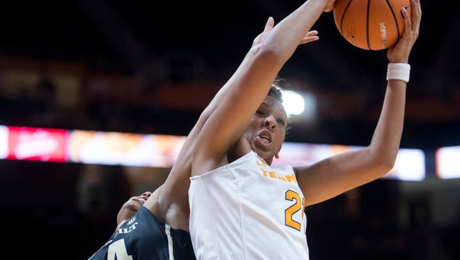 Tennessee's Mercedes Russell grabs the rebound while defended Vanderbilt's Autumn Newby on Sunday, January 7, 2018.