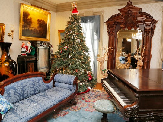 A Christmas tree and other holiday decorations will grace the drawing room inside the Haan Mansion Museum in Lafayette.