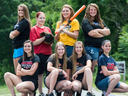 Presenting the 2016 Lebanon Daily News All County Softball Team: Front row, from left, Morgan Zimmerman (Annville-Cleona), Kayla Bonawitz (Palmyra), Sara Boyer (Palmyra) and Auriannis Lassalle (Lebanon). Back row, from left, Maddie Gable (Cedar Crest), Emily Fake (Lebanon), Amaya Phillips (Elco) and Ashley Maulfair (Cedar Crest). Missing from the photo: Emma Lerchen (Annville-Cleona), Amber Rexrode (Annville-Cleona), Beth Wiczalowski (Elco), Jess Kreiser (Northern Lebanon) and Emma Kelliher (Northern Lebanon).
