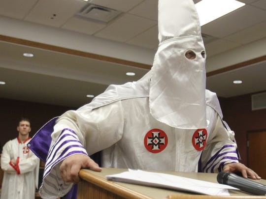 Richard Preston, imperial wizard of the Confederate White Knights, speaks at a meeting near Elkton, Md., in 2013. Preston has been arrested on charges of shooting a weapon amid the crowd at the Charlottesville, Va., rally earlier this month.