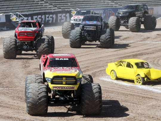 Monster Jam trucks take to the floor of the Sun Bowl Stadium Sunday.