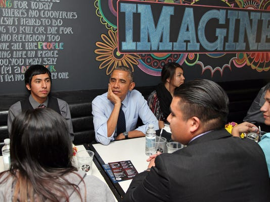 Obama with Standing Rock Sioux Tribal Youth