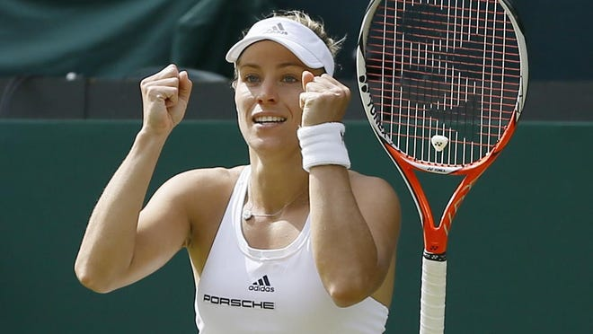 Angelique Kerber celebrates after beating Venus Williams. She now faces Serena Williams for the title.