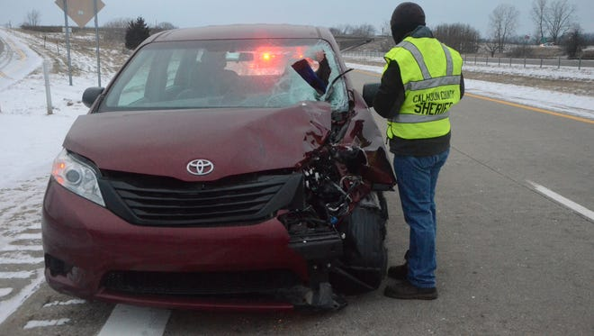 A teenager was struck by the left front of the van early Friday on I-94.