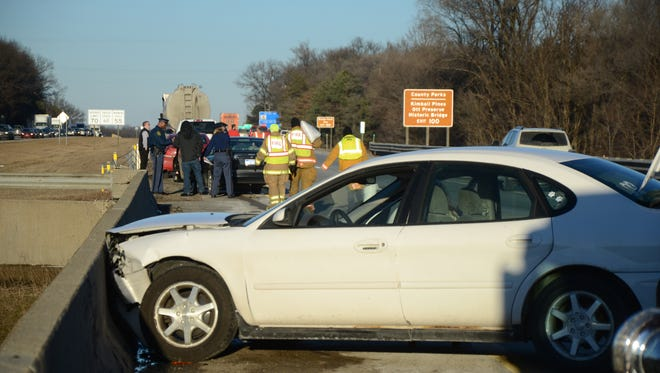One of the cars involved in an accident Friday on I-94.