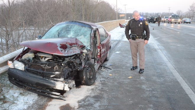Lt. Dan Latta said the driver of this car was injured in a Tuesday morning crash.