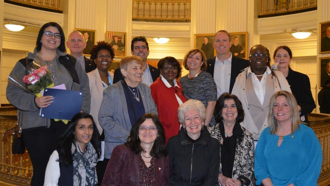 The newest CASA of Union County volunteers are (from left, standing) Emily Aschenbach of Cranford, Tom Whelan and Wigeby Toussaint of Union, Rose Franco and Craig Grosswald of Summit, Deborah Mathis of Rahway, Cheryl Barr of Summit, Doug Loffredo of Westfield, Lillie Chadwick of Union and Julaine Bianculli of Rahway and (kneeling) Rupa Motwani of Westfield, Isabella Blumberg of Springfield, Phyllis Karp and Mary Ann Foster of Westfield and Ildi Grundmann Coon of Cranford. Not shown is Maryanne Grycan of Westfield.
