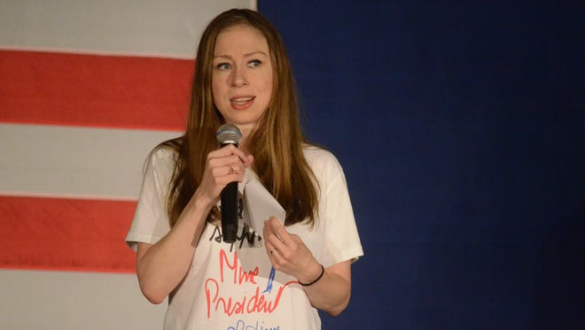Chelsea Clinton speaks to the crowd at the Kool Family Center in Battle Creek.