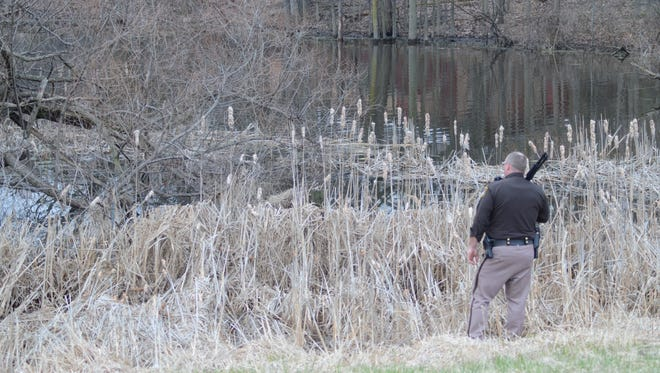 Officers from five departments searching along I-94 near Capital Avenue for a man who ran from a traffic stop.