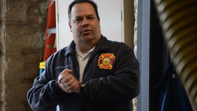 Battle Creek Fire Chief Dave Schmaltz speaks at Station 3.