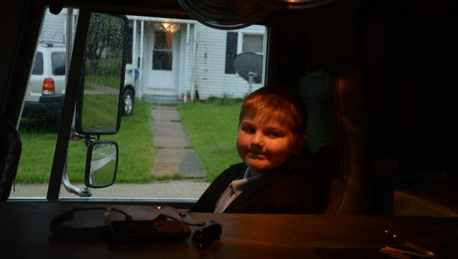 Levi Boling was riding up front with the Battle Creek Fire Department on Tuesday.