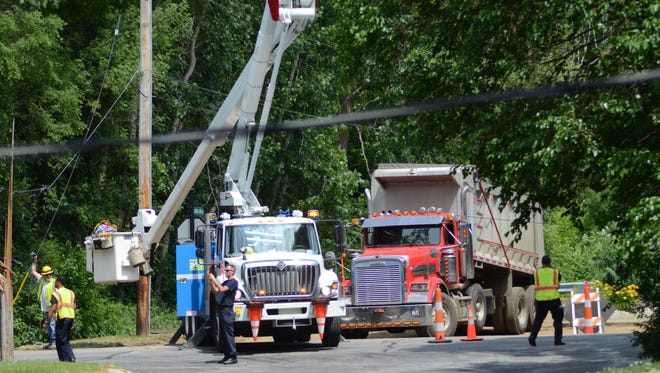 Consumers Energy crews were working Thursday afternoon to restore power knocked out by a dump truck.