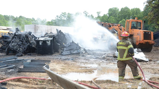 Firefighters from both Bedford and Pennfield townships fought a fire Wednesday at H&H Truck Parts.