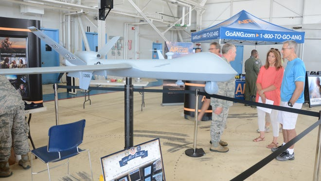 One display Friday was a model of an MQ-9, a Remotely Piloted Aircraft or drone, flown at the Battle Creek Air National Guard Base.