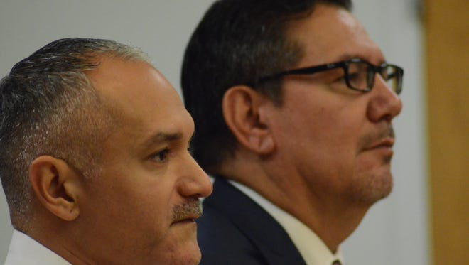 Luis Tejada, left, with his attorney, Eusebio Solis appear in court Tuesday, Oct. 3, 2017.