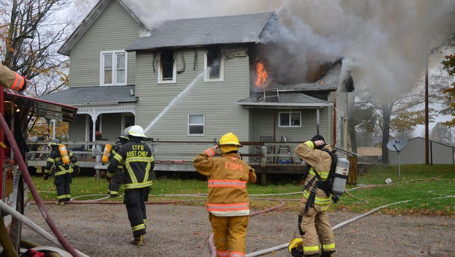 Firefighters said a dryer was the likely cause of a fire which started in the back of this home Tuesday, Oct. 24, 2017.