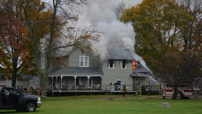 Fire officials estimated damage at $105,000 to a Newton Township home damaged Tuesday by fire.