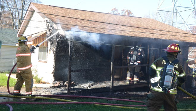 Firefighters battled a fire in Pennfield Township Friday afternoon.