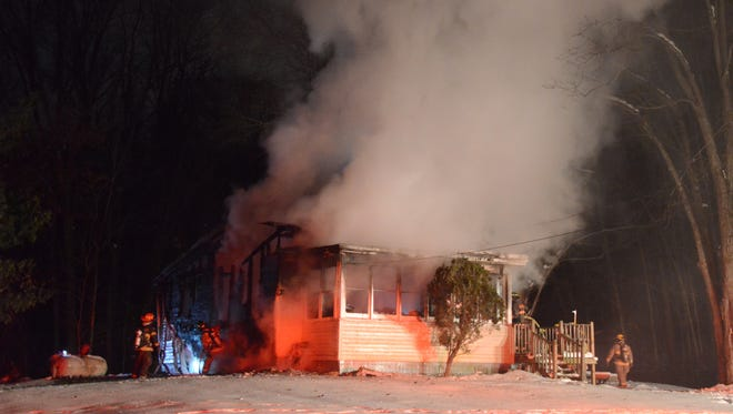 Fire destroyed this Pennfield Township home Sunday morning.