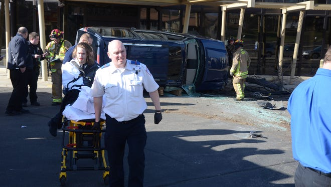 The driver of an SUV which crashed at Bronson Battle Creek on Saturday was taken by ambulance to the emergency room.