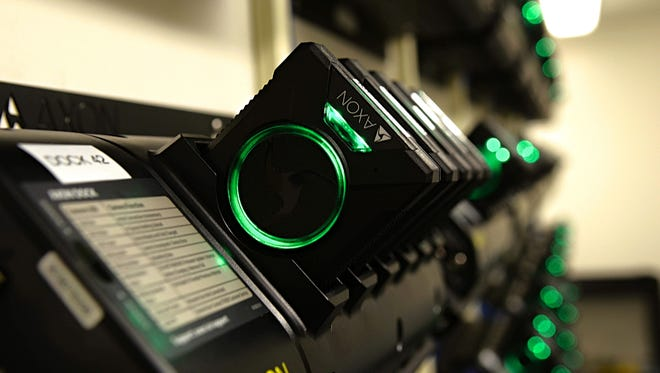 A photo of a body camera docking station taken on June 8, 2018 at the Reno Police Department.