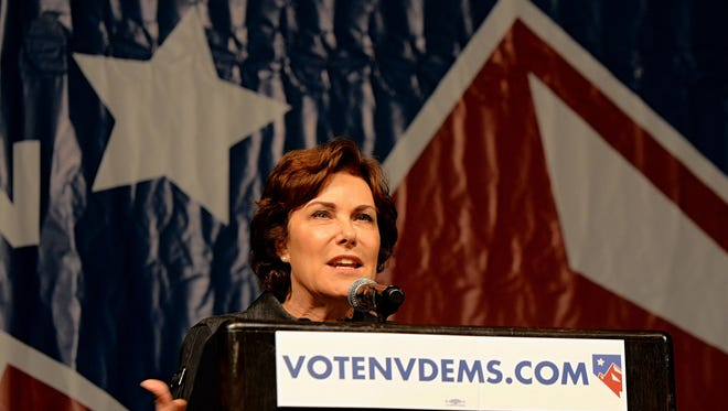 U.S. Rep. Jacky Rosen, D-Nev., speaks to a large crowd during the Nevada State Democratic Party Convention held at the Grand Sierra Resort on June 23, 2018.