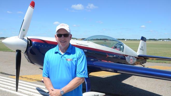 Pilot Dave Monroe flies right wing for the Phillips 66 Aerostars.