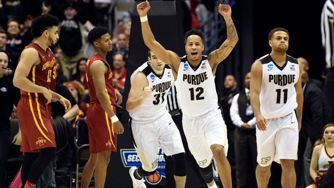 Purdue Boilermakers forward Vince Edwards (12) celebrates after defeating the Iowa State Cyclones in the second round of the 2017 NCAA Tournament at BMO Harris Bradley Center on March 18.