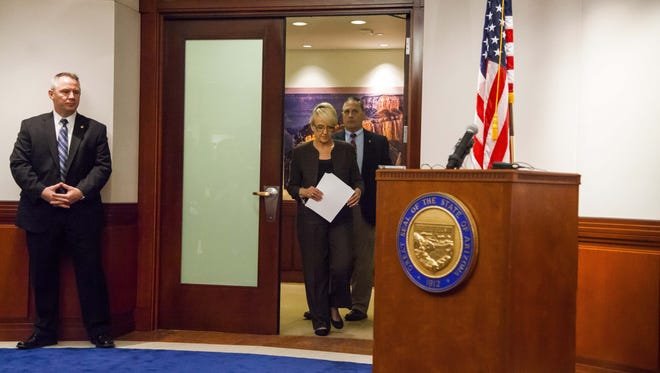 Gov. Jan Brewer announces that she vetoed SB 1062 at the Executive Tower at Arizona State Capitol on Wednesday, February 26, 2014 in Phoenix, Arizona.