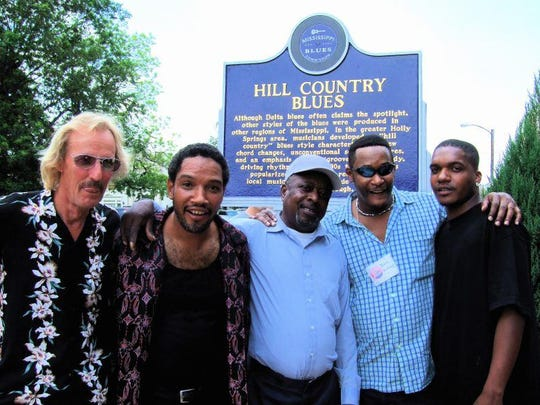 "Kenny Brown, Duwayne Burnside, Little Joe Ayers, David Kimbrough and Garry Burnside attend the dedication of the ""Hill Country Blues"" Mississippi Blues Trial marker in Holly Springs in 2008."