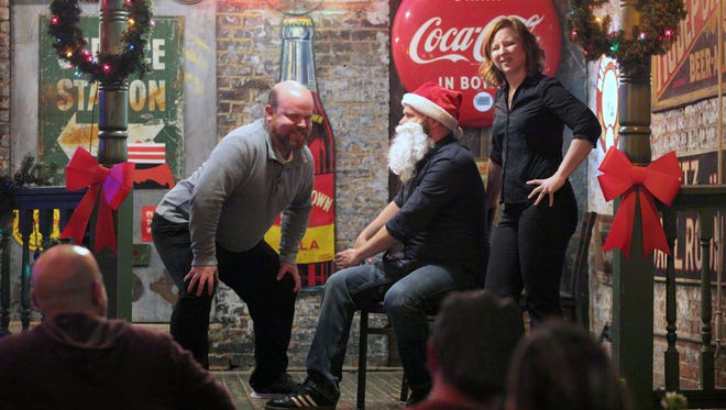 """From left, Mike Hall, Dave F'n Powell and Kat Smith are three of the featured members of OTRimprov. Hall and Powell will be part of the cast of """"The Naughty List,"""" running Dec. 12-27 in the patio of Arnold's Bar & Grill, 210 E. Eighth St., Downtown."""