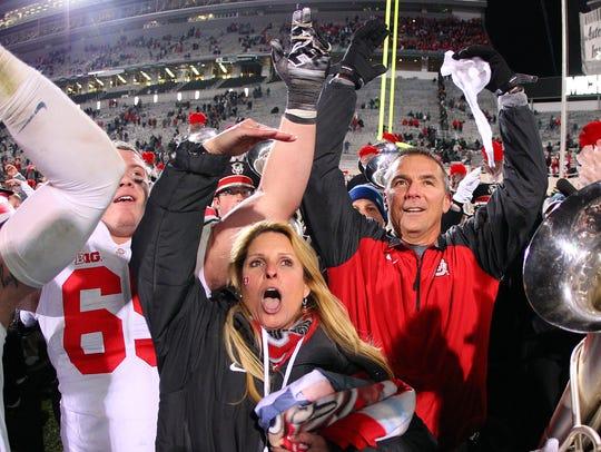 Ohio State Buckeyes head coach Urban Meyer celebrates