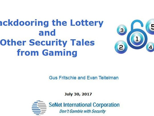 "Executives of a company hired by the Multi-State Lottery Association found a third date where Eddie Tipton may have rigged ""random"" national lottery drawing jackpots. This is the cover page of a presentation where they unveiled the information."