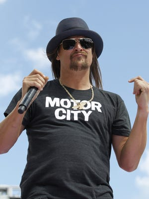 In this Feb. 22, 2015 file photo, Kid Rock performs before the Daytona 500 NASCAR Sprint Cup series auto race at Daytona International Speedway in Daytona Beach, Fla.
