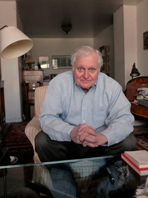 FILE - In this Sept. 29, 2008, file photo, Poet John Ashbery interviewed at his apartment in New York. Ashbery, widely regarded as one of the world's greatest poets, died Sunday, Sept. 3, 2017, at home in Hudson, New York, of natural causes, according to husband, David Kermani. He was 90.