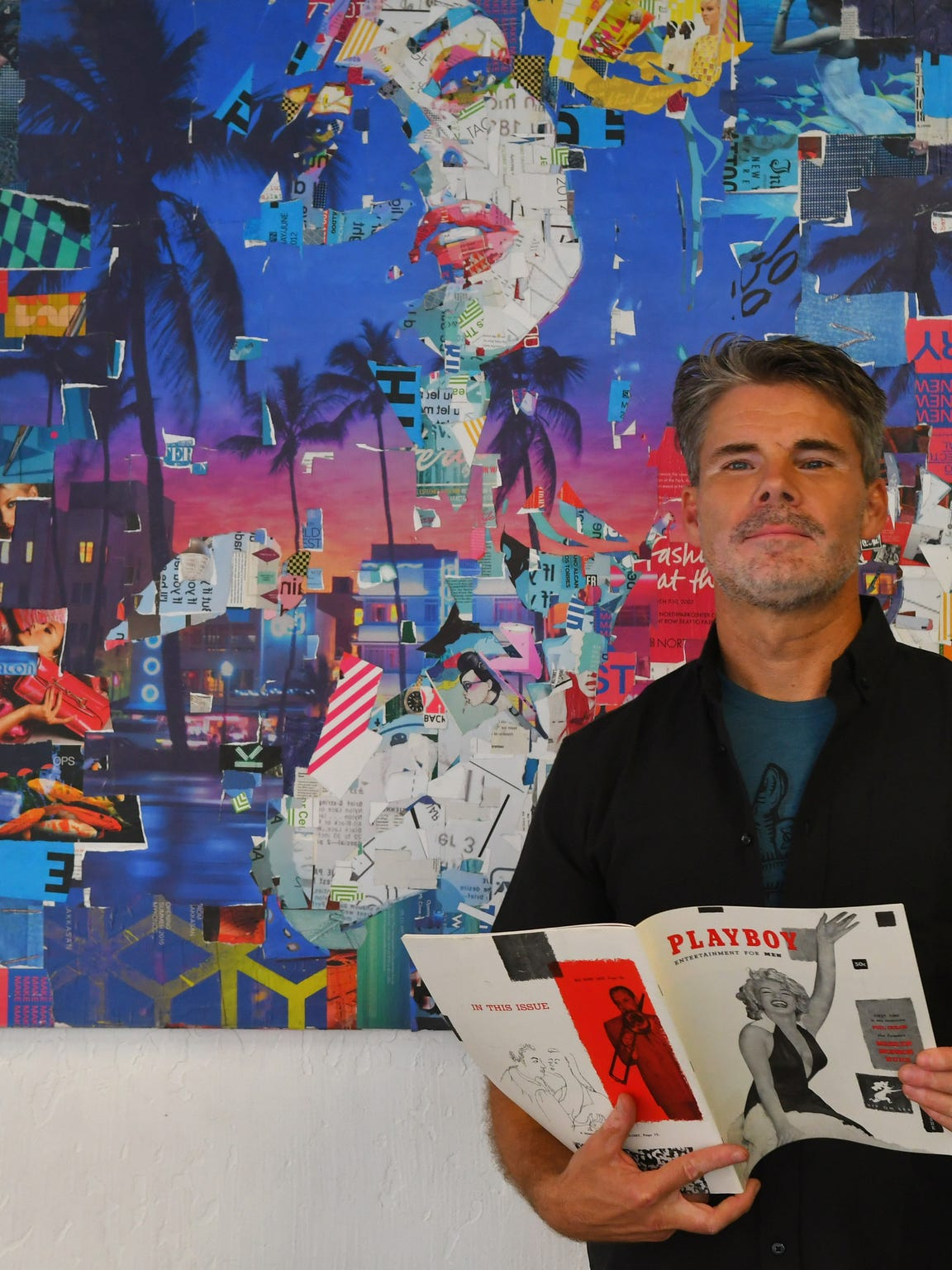 Standing in front of one of his collage creations, Eau Gallie artist Derek Gores approached Playboy to create a cover of magazine founder Hugh Hefner.