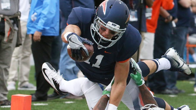 UTEP wide receiver Cole Freytag reaches into the endzone for a touchdown against North Texas Saturday in the Sun Bowl.
