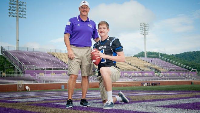 Western Carolina University football coach Mark Speir and his son, Smoky Mountain senior Zeb Speir.